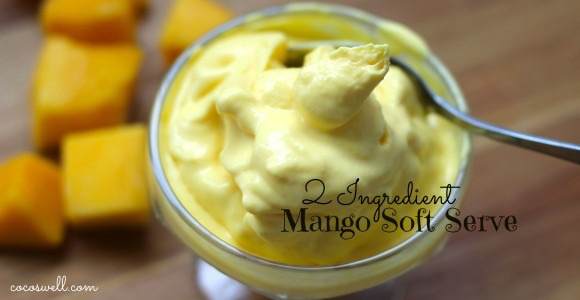 Soft Serve Mango - 2 cups of frozen mango 2-4 Tablespoons of Organic Heavy Cream or Full Fat Coconut Milk 10 drops of liquid stevia (optional) Blend ingredients in a high speed mixer until smooth and creamy.